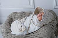 """Стильный трикотажный конверт-плед для новорожденного  """"Изысканность"""" бежевый, фото 1"""