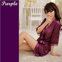 Пеньюар халат атлас+стринги Фиолетовый, фото 1