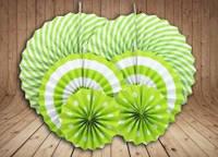 Набор бумажных вееров для декора 6 шт., салатовые
