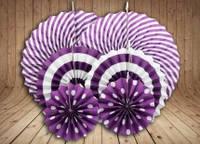 Набор бумажных вееров для декора 6 шт., фиолетовые