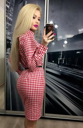 Платье рубашка на пуговицах с длинным рукавом в клетку ft-257 красное, фото 2