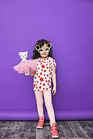 """Прямая летняя детская блуза """"Звездочки"""" с коротким рукавом (2 цвета)"""