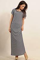 Длинное летнее прямое платье в полоску в морском стиле из вискозы 42-52 размеры