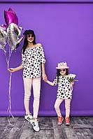 """Прямая летняя женская блуза """"Звездочки"""" с оголенными плечами (2 цвета)"""
