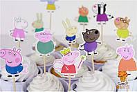 Свинка Пеппа Peppa pig топпер на кекскейки 24 шт набор, фото 1