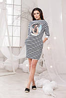 Стильное трикотажное платье в полоску принт+карманы, рукав 3/4, больших размеров. Арт-5712/57
