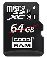 Карта памяти GOODRAM Class 10 UHS| 64GB microSDXC + SD adapter (M1AA-0640R11)