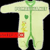 Человечек для новорожденного р. 56 демисезонный ткань ИНТЕРЛОК 100% хлопок ТМ Свит 3132 Зеленый