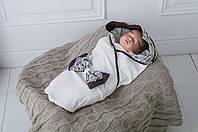 """Стильний трикотажний конверт-ковдру для новонародженого """"Вишуканість"""" коричневий, фото 1"""