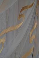 Тюль Милен белая с золотым узором.