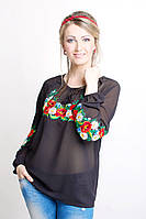 Прозрачная женская рубашка с вышивкой