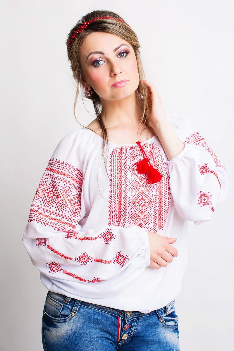 Белая женская вышиванка из шифона