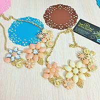 """Ожерелье """"Флора"""" нарядное с кристаллами."""