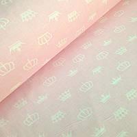 Хлопковая ткань польская белые короны на розовом № 326