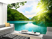 """Фотообои """"Рассвет на голубом озере"""", Фактурная текстура (холст, иней, декоративная штукатурка)"""