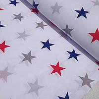 Хлопковая ткань польская звезды большие красно-синие № 328