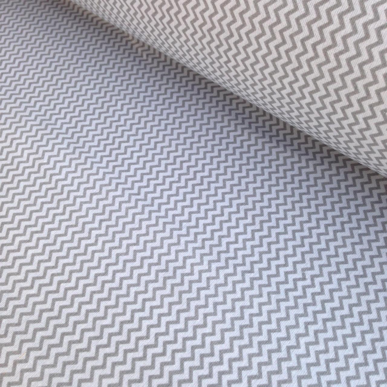 Хлопковая ткань польская зигзаг мелкий серый № 331