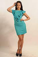 Нарядное платье из костюмной ткани с воланом из шифона 42-52 размеры