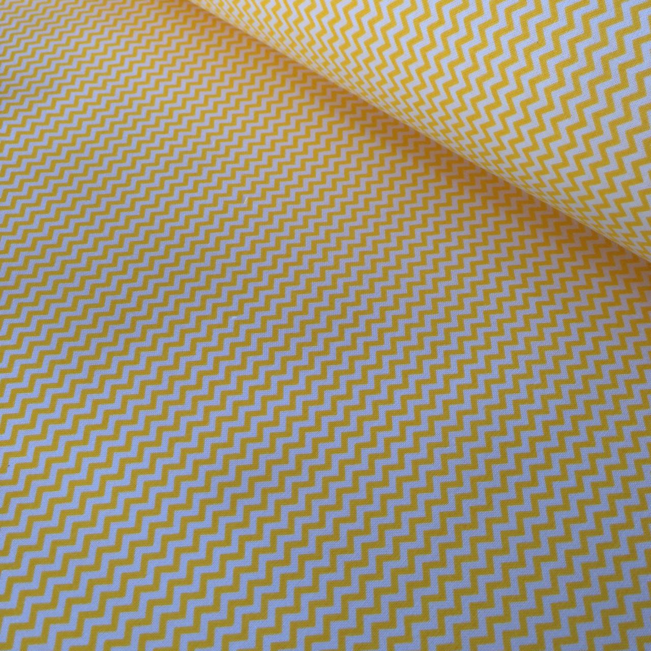 Хлопковая ткань польская зигзаг мелкий желтый № 332
