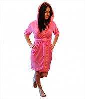 Nusa Халат женский тонкая махра, короткий с капюшоном, бамбук 100% ns 029 s, m, l/xl розовый