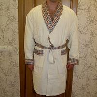 Nusa Халат мужской NS 087 велюр махра длинный без капюшона хлопок L/XL,2XL крем