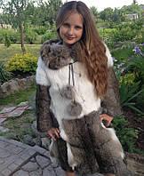 Шуба из кроля в натуральном цвете 85 см. Для детей 8-13 лет.