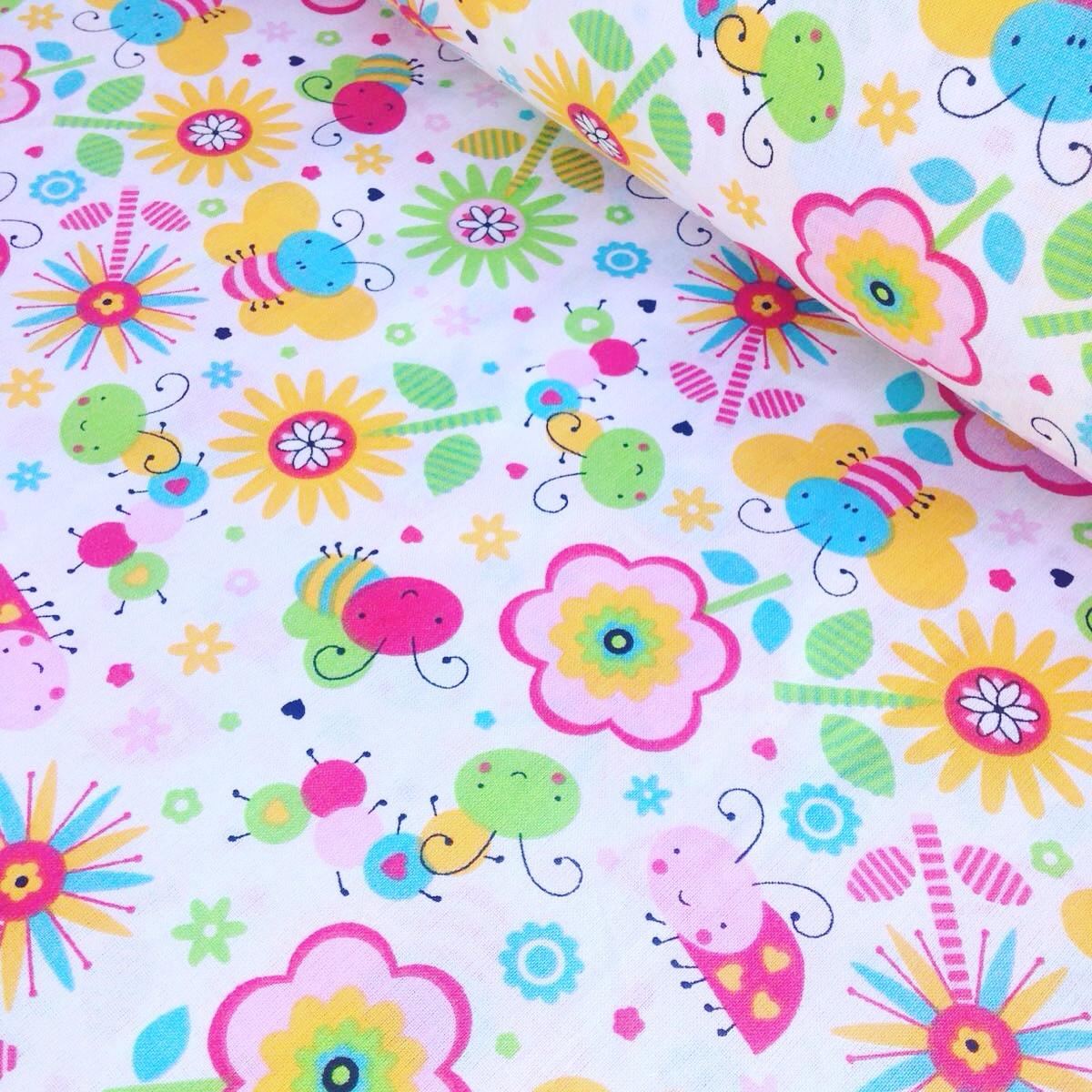 Хлопковая ткань польская пчелки разноцветные № 338
