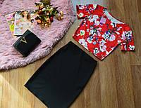 Кофта принт магнолия красный+юбка , фото 1