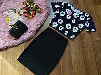 Кофта принт ромашка+юбка