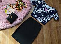 Кофта принт цветы диагональ+юбка , фото 1