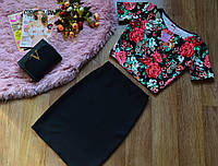 Кофта принт яркие цветы+юбка