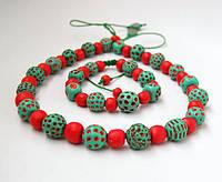"""Намисто і браслет """"Червоне і зелене"""", фото 1"""