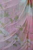 Тюль детская Пальмы розовая