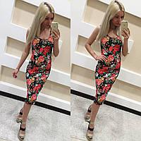 Стильное платье-майка цветочный принт