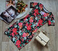 Стильное платье цветочный принт с коротким рукавом