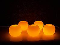 Электронная свеча в парафиновом корпусе округлой формы, фото 1