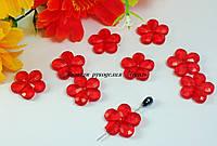 Бусины цветы хрустальные с гранями красные около 2см