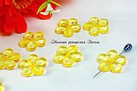 Бусины цветы хрустальные с гранями желтые около 2см