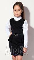 Школьный коттоновый сарафан Mevis 1360 цвет черный р.128