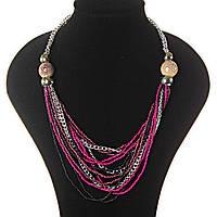 [2- 20 мм] Ожерелье цепочки, светлый, темный металл, бардовые, розовые, пятнистые бусины различных размеров