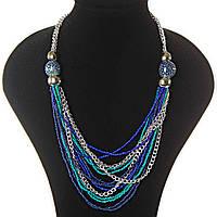 [2-20 мм] Ожерелье цепочки, светлый, темный металл, голубые, синие, бирюзовые, пятнистые бусины различных размеров