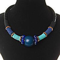 Акция Ожерелье черного цвета плетенка, бусины и ткань - синий, бирюзовый, черный, золотой цвета