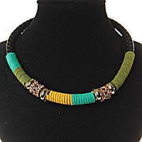 Ожерелье черная основа плетенка вставки из ткани: бирюзовый, желтый