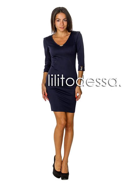 Платье с плечиками тёмно-синий