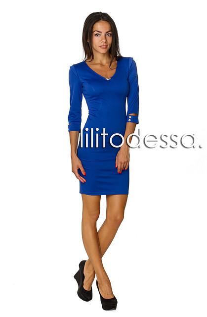 Платье с плечиками синий