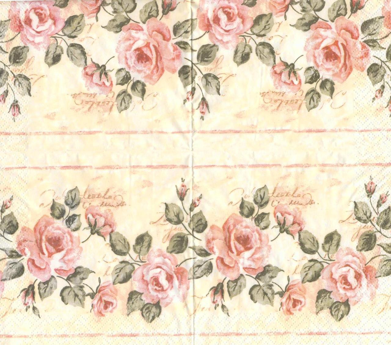 Салфетка декупажная Полосы с розами 563