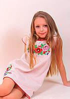 Вышитое платье для девочки цветным узором, фото 1
