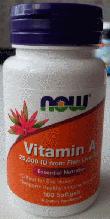 Витамин А, Now Foods, Vitamin A, 25,000IU, 100 sgels