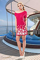 Женское летнее платье красное с морским принтом