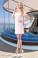 Женское летнее короткое платье розовое